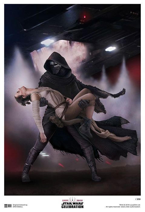 """""""This piece of work by Erik Maell, a Lucasfilm-licensed artist, will be available to buy as a limited edition print at this year's Star Wars Celebration Europe. Lucasfilm, your Reylo is showing."""""""