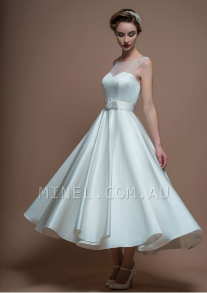 Scoop A-line Ankle-length Bow - 164w0110 - Wedding Dresses