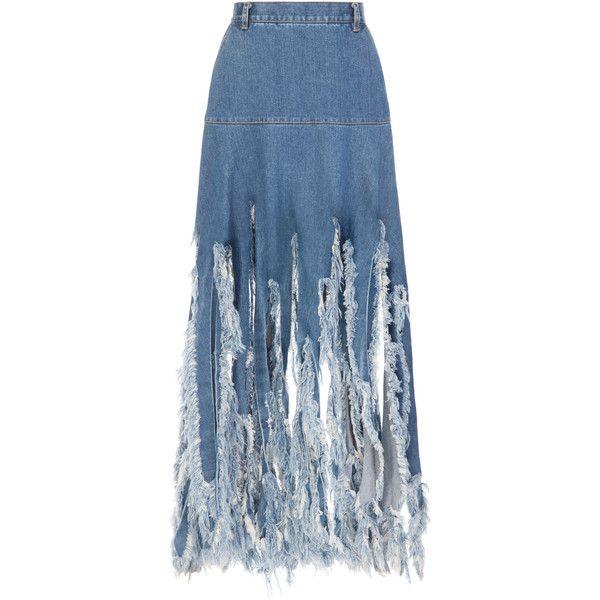 Ksenia Schnaider Maxi Denim Fringe Skirt (27.055 RUB) ❤ liked on Polyvore featuring skirts, blue, ruched maxi skirt, distressed denim skirt, long maxi skirts, ripped denim skirt and high-waisted skirt