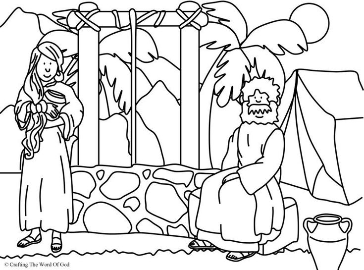 Woman at the well coloring page day 2