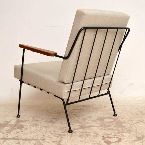 Ernest Race Attributed; Enameled Steel and Mahogany Armchair, 1950s.
