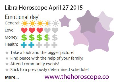 Emotional day for #Libra on April 27th 2015 #horoscope. Come back every day and see your daily prediction! http://www.thehoroscope.co/Libra-Horoscope-tomorrow.php