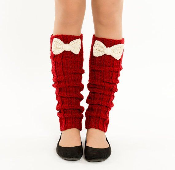 Deep Red and Ivory Bow Knit Leg Warmers, Crocheted Boot Socks, Handmade Women's Warm, Winter Accessory, Dance Wear, Exercise, Ballet by vintagelookcreations on Etsy https://www.etsy.com/listing/207632746/deep-red-and-ivory-bow-knit-leg-warmers