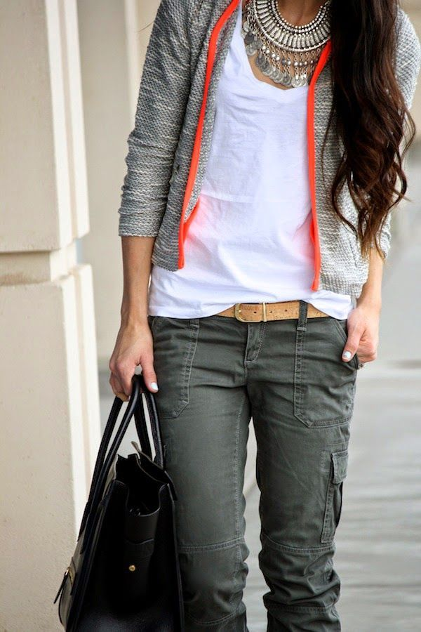 Dress up your white t-shirt and cargo pants with a statement necklace, jacket and your favourite handbag.