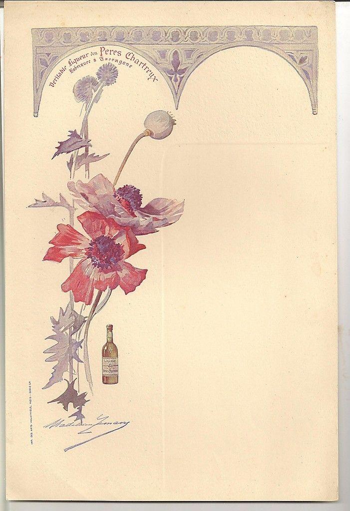 """""""Véritable Liqueur des Pères Chartreux """" - Menu illustré d'une aquarelle de Madeleine Lemaire. Paris , Imprimerie des arts industriels - Camis gr - (1920/1925)"""