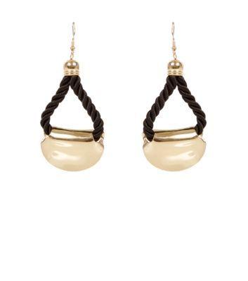 Cream Contrast Cord Loop Drop Earrings @New Look