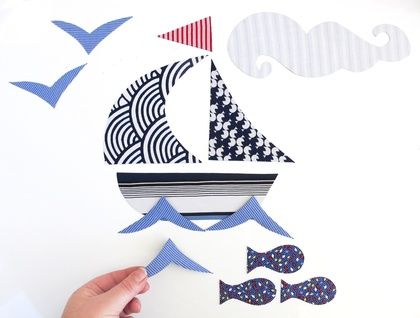 Sailboat set - interactive magnetic wall art. Tinch. $39