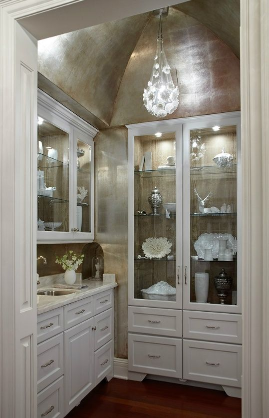 Butlers Room Silver Leaf Cove Ceiling In A Pantry Via Decorating And Design Tips From Kara Mann Trad Home