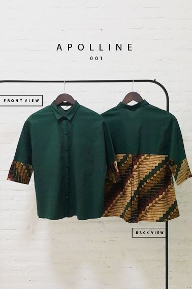 Apolline 001 IDR 420.000 Classic Batik Parang Fusion Formal Buttoned Blouse  Length of Bloue:  62 cm  Material used : Batik Parang Cap, Cotton. Premium Cotton Stretch  Free Size (Bust up to 94cm)