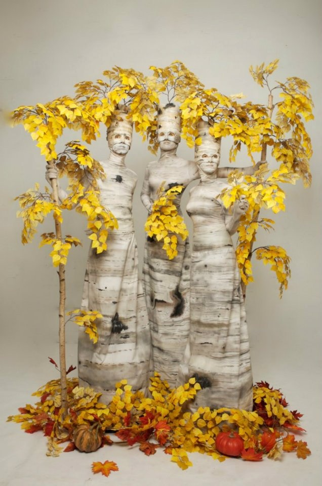 Autumn Birch Trees - wemakepretend.com--minus the faces haha