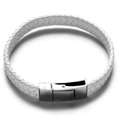 Stainless Steel Bracelet with White Leather Strap, $48.95