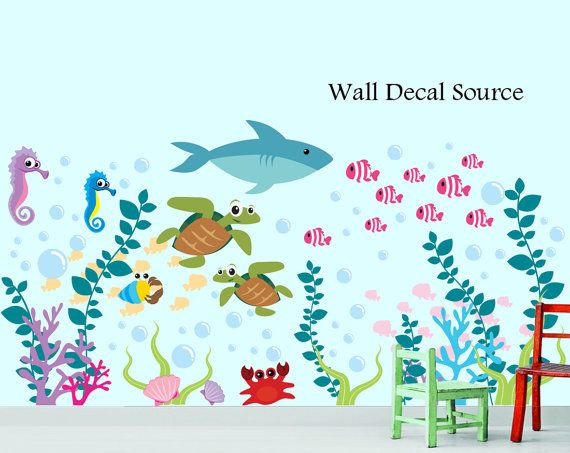 Aquarium Wall Decal - Under The Sea - Oceanic Wall Decal - Fish Wall Decal - Reusable Available