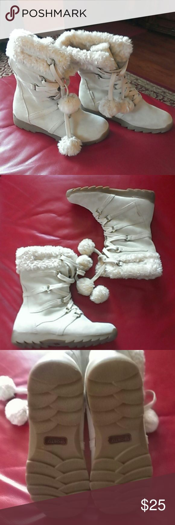 Boots Sporto Boots Sporto waterproof, leather upper, balance man made materials, color cream, like new. Sporto Shoes Winter & Rain Boots
