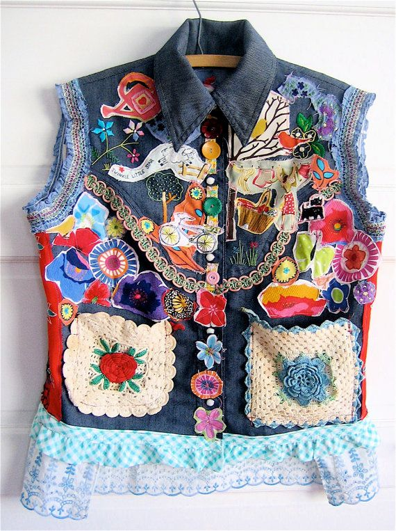 Denim WESTERN Cowgirl  Embroidered SHIRT Wearable COLLAGE Art Vintage Linens   my bonny, oregon, usa