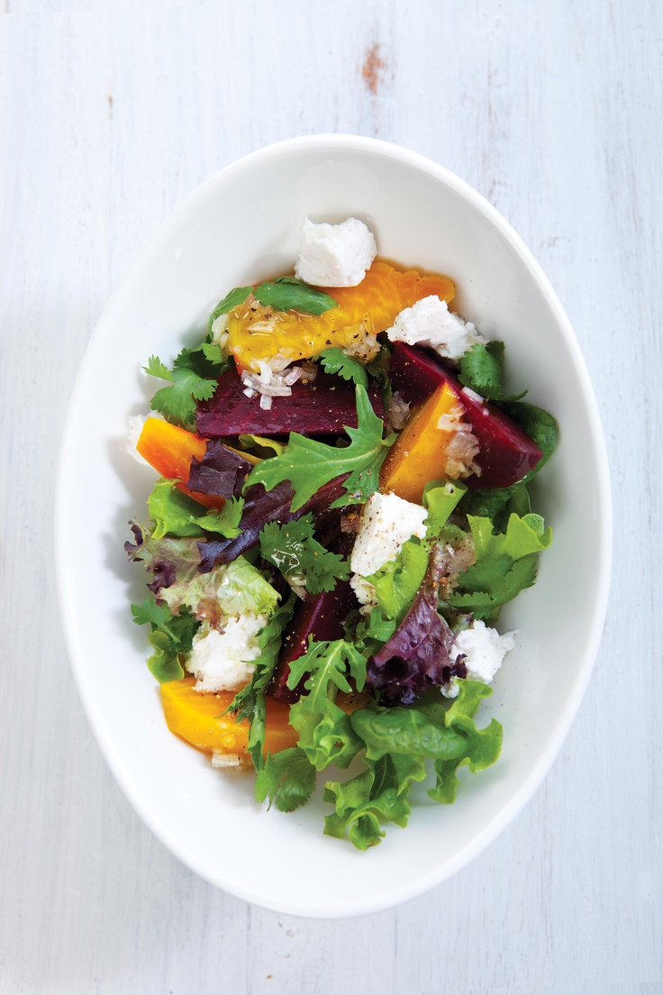 Steamed beet and goat cheese salad - great with raw grated or roasted ...