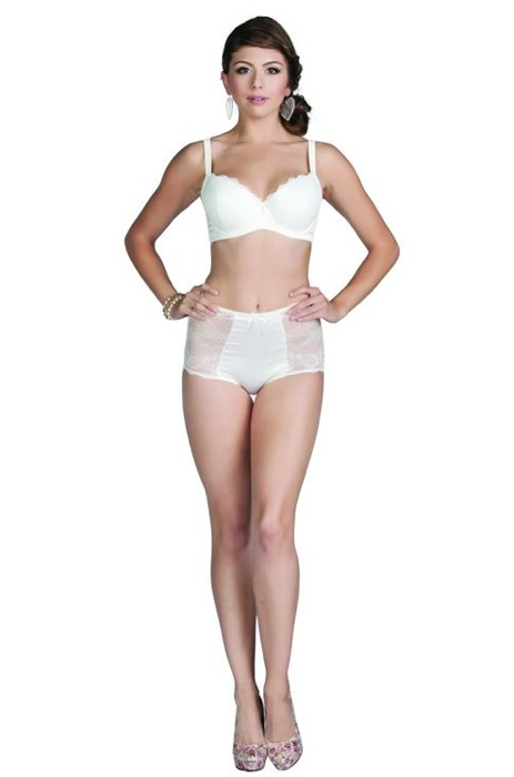 """""""Alexis"""" Molded Padded Bra & High Waist Brief in Ivory For More Details: www.facebook.com/photo.php?fbid=483995071612600=a.477894232222684.118116.111339788878132=3"""