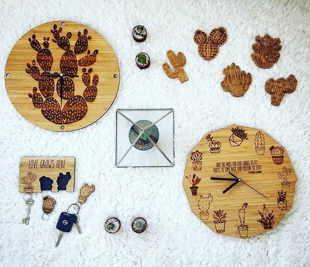 Today's mood #cacti collection for #kamers2016 Keep an eye out for more sneak peaks to follow  #mood #kamersvolgeskenke #shoot #cactus #kamersincub8 #art #local #cactusinspired #bamboo #wood #white #clock #coasters #keychain #keyholder #wallclock #lasercut #terrarium #plants #botanical #time #instagood #makers #capetown #kaap #decor #makersgonnamake #hallojane