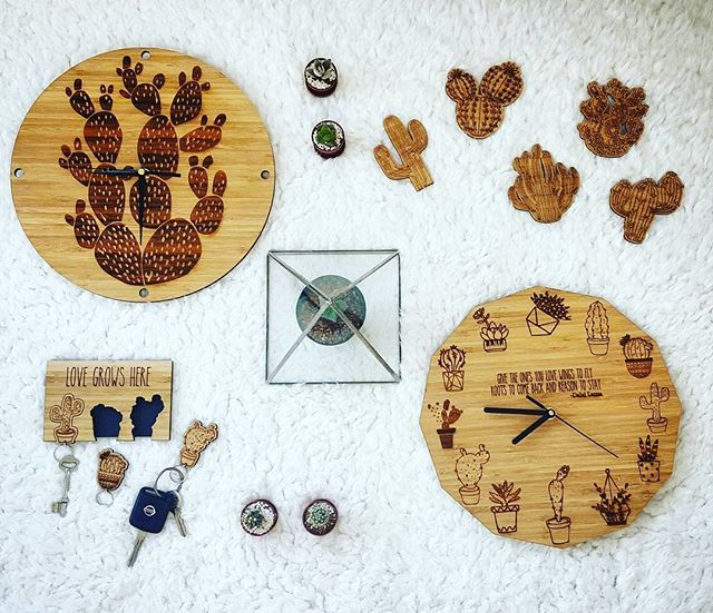 Today's mood #cacti collection for #kamers2016 Keep an eye out for more sneak peaks to follow  #mood #kamersvolgeskenke #shoot #cactus #kamersincub8 #art #local #cactusinspired #bamboo #wood #white #clock #coasters #keychain #keyholder #wallclock #lasercut #terrarium #plants #botanical #time #instagood #makers #capetown #kaap #decor #makersgonnamake #hallojane