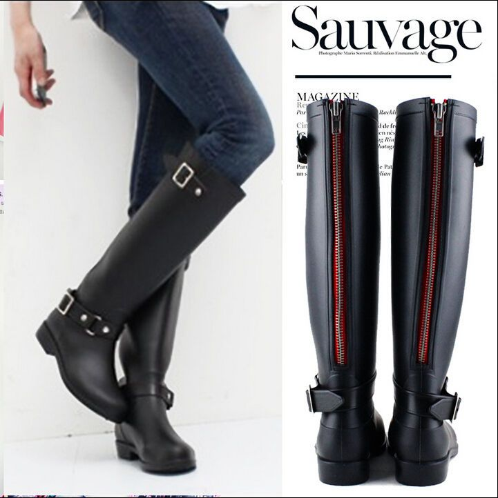 New$10 Women Rain Boots Flat Wellies Waterproof Red Zipper Knee High Mid Calf Boots #Unbranded #Rainboots #Casual