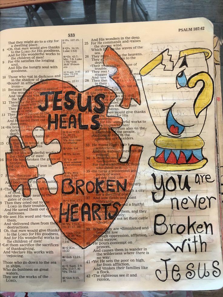 Jesus heals the broken-hearted. #biblejournaling