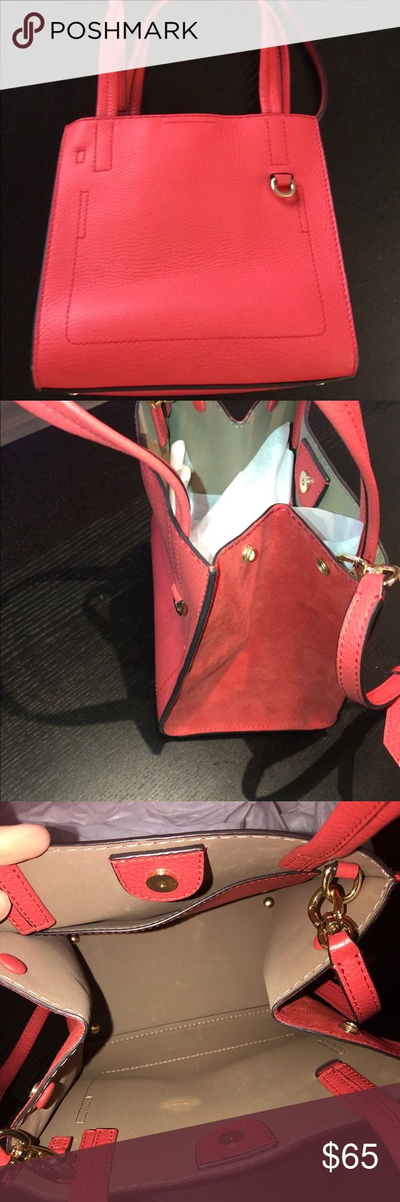 Banana Republic Italian Leather Mini Pebble Tote Italian leather and suede combo. Worn once. Bought with defect (see picture). Brings adjustable cross body strap. Snap buttons allow suede side to be worn closed or open for extra room. Banana Republic Bags Crossbody Bags