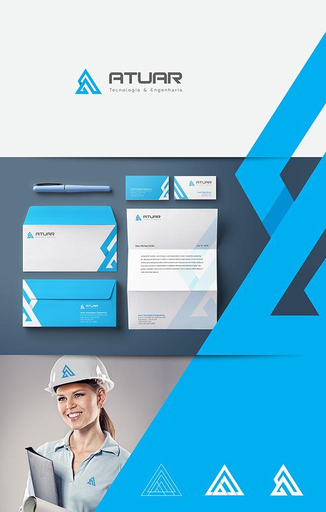 Logotipo e identidade visual completa criados para Atuar Tecnologia & Engenharia.