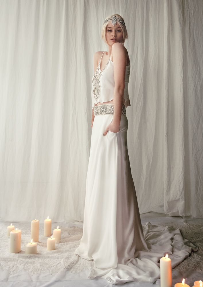 Bo & Luca 'Montego Bay' two piece silk gown and 'Hera' headpiece