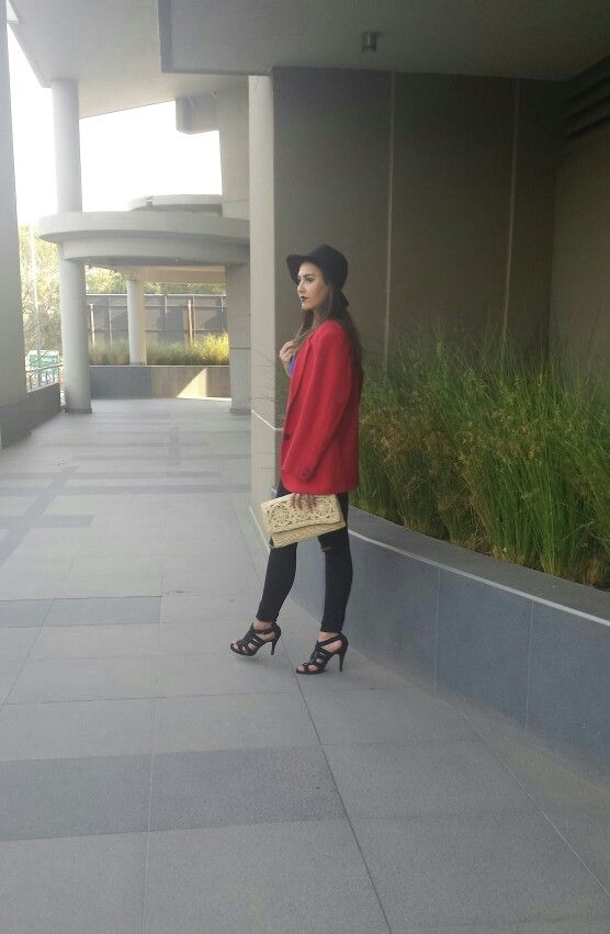 Red vintage blaser, black jeans with witchery gladiator heels.  Cloudy Mood by www.feliciadebeer.co.za