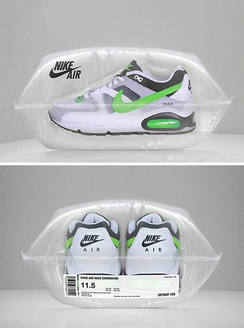 """""""Nike Air"""" This design is a play on words """"nike air"""" They put the nike brand name and saying to the test by actually packaging a pair of nikes with air."""