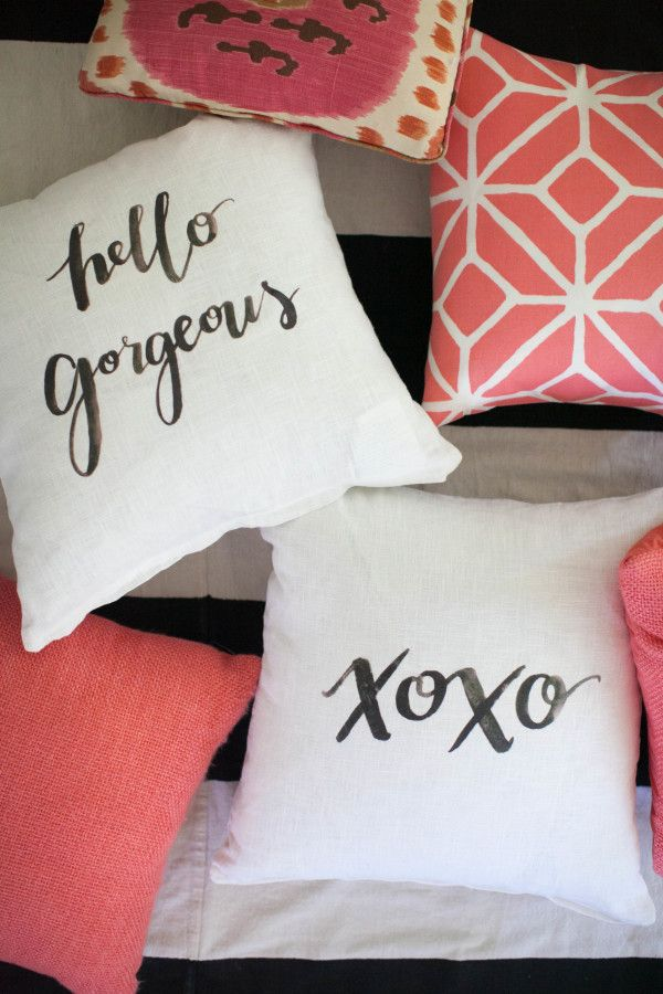 DIY calligraphy pillows: http://www.stylemepretty.com/living/2015/09/11/bedroom-diys-to-save-on-from-the-today-show/