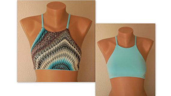 Reversible high neck halter bikini top-Bathing suit-Yoga top-Yoga tank top-High …
