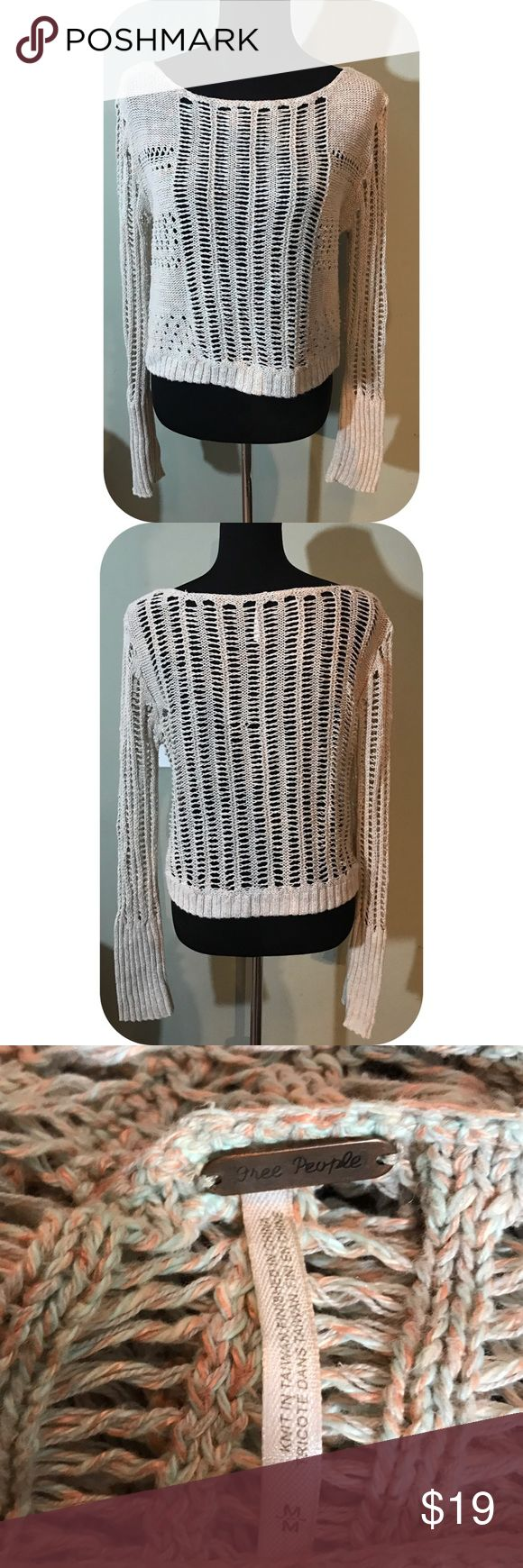 Free People Open Weave Sweater Gently worn - open weave loose knit sweater Free People Sweaters