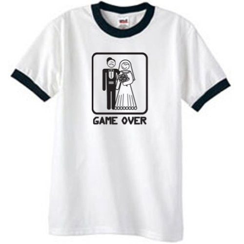 GAME OVER Funny Marriage Bride Groom Ringer Tee Shirt T-Shirt - White/Black