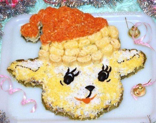 """Салат """"Новогодняя овечка"""""""