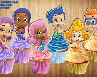BUBBLE GUPPIES Cupcake Toppers, Bubble Guppies Cupcake Picks, Bubble Guppies Cake Topper, Bubble Guppies Cake Pop Topper, PRINTABLE