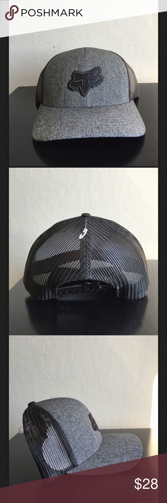 FOX Racing Snapback Hat Cap Gray Logo Trucker Mesh FOX Racing Snapback Hat Cap Mens Gray Logo Trucker Mesh Back NEW!! 