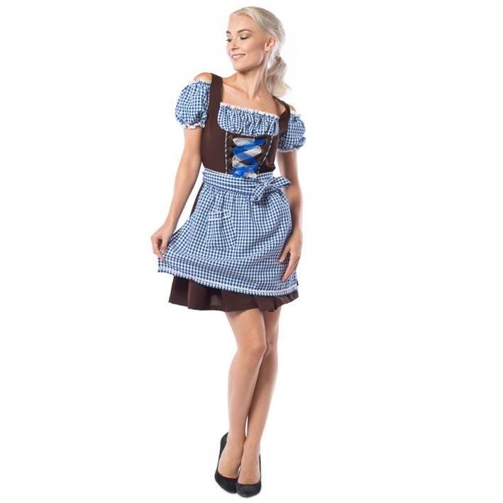 Disfraz de bávara azul y marrón para mujer