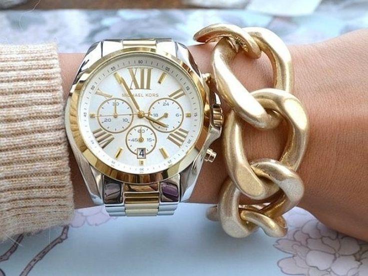 40. #Michael Kors Chunky Gold #Watch - 46 Beautiful Women's #Watches to Adorn Your #Wrist ... → #Jewelry #Spade