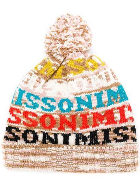 cc50b2dbe87fc2 Shop Missoni logo knitted pom pom hat   Hats   Pom pom hat, Hats ...
