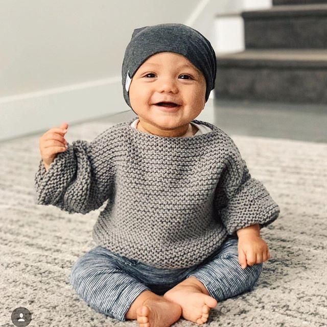 Dunkelgraue Slouchy-Mütze – Babies.