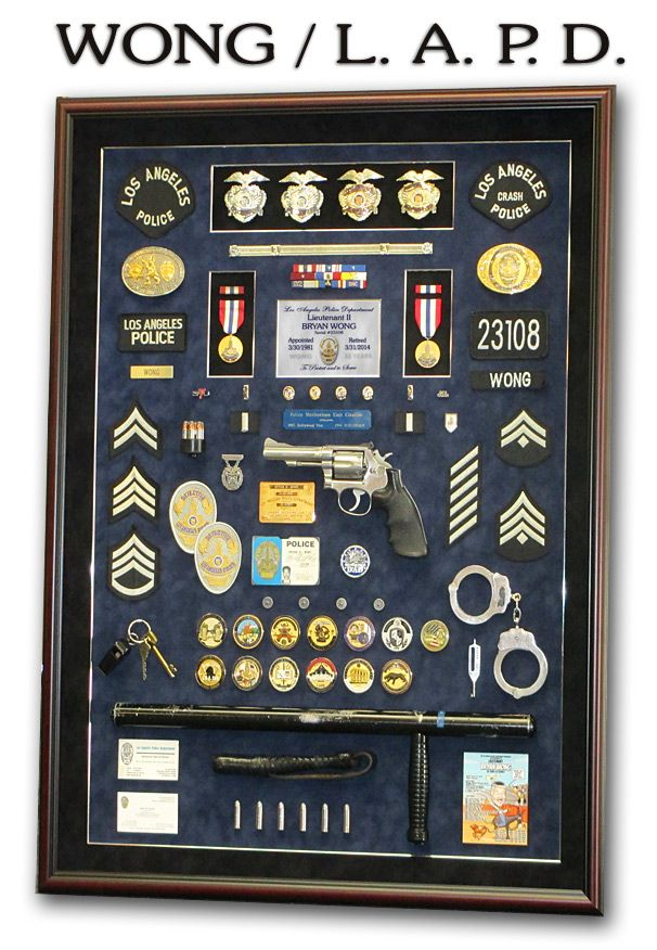 Police Shadowboxes From Badge Frame Wong Lapd Police