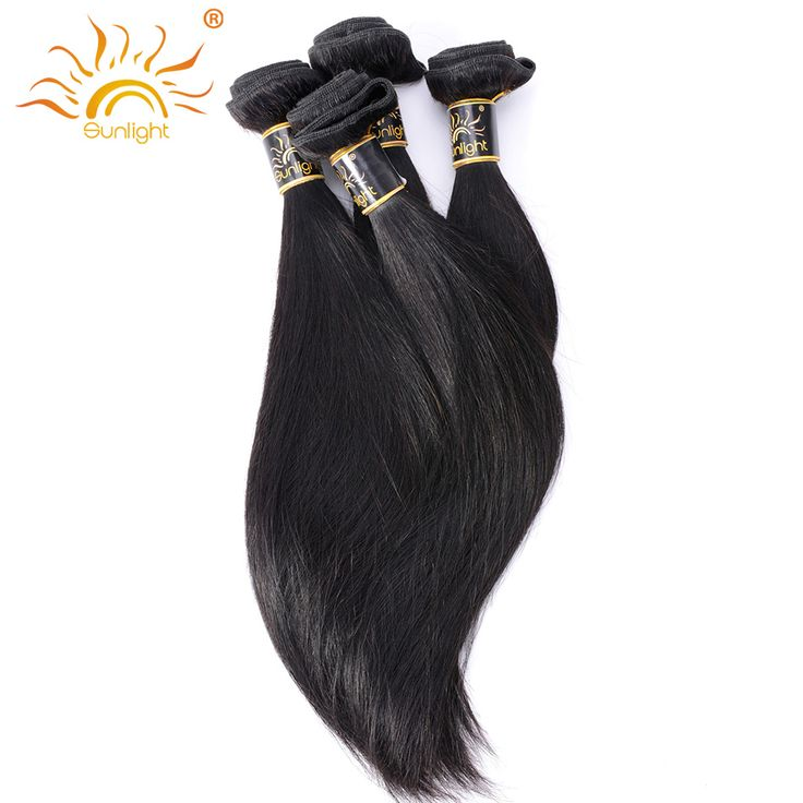 Sunlight Human Hair Brazilian Straight Hair Weave Bundles Non-Remy Human Hair Extensions Free Shipping 1b Can Buy 4 or 3 Bundles