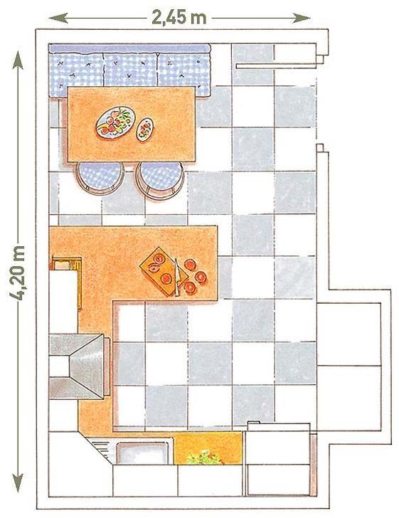 Plano de cocina con medidas