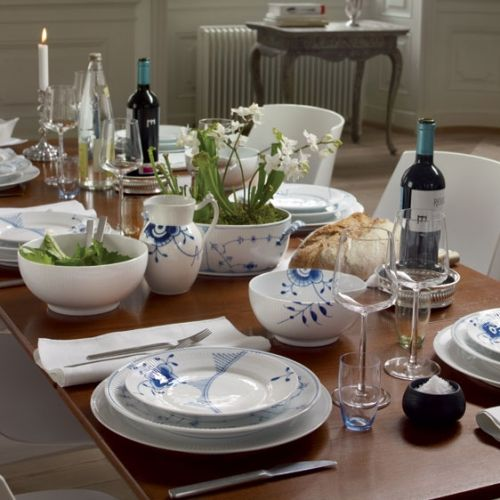 Mix Match: White Fluted Serving plate, Blue Fluted Plain Blue Fluted Mega
