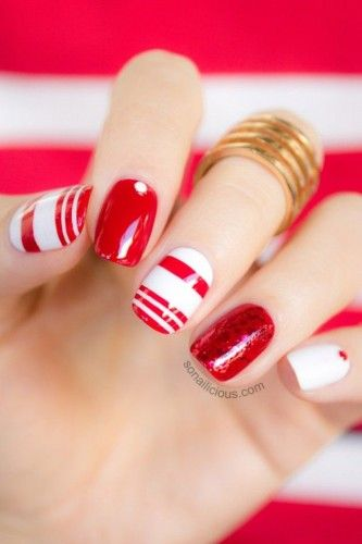 red and white nail art design
