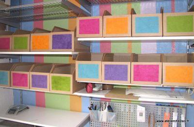 diy tutoriel des casiers de rangement en carton pour. Black Bedroom Furniture Sets. Home Design Ideas