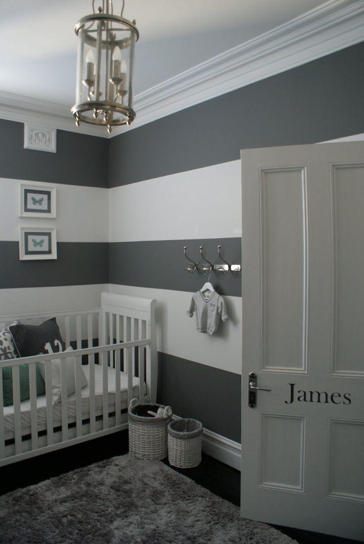 Striped grey and white walls for a nursery (via A Paddington Perspective).