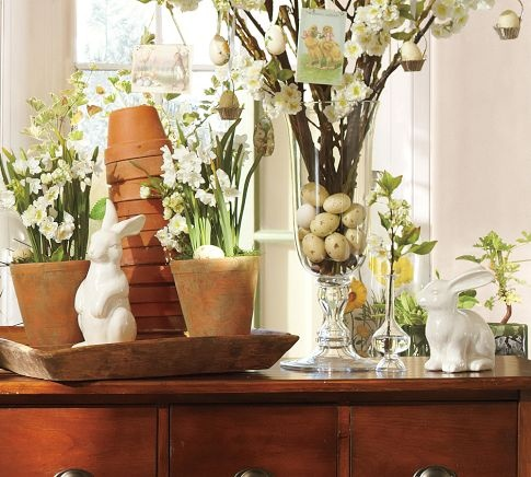easter home decor idea - love the large glass vase with eggs at the bottom