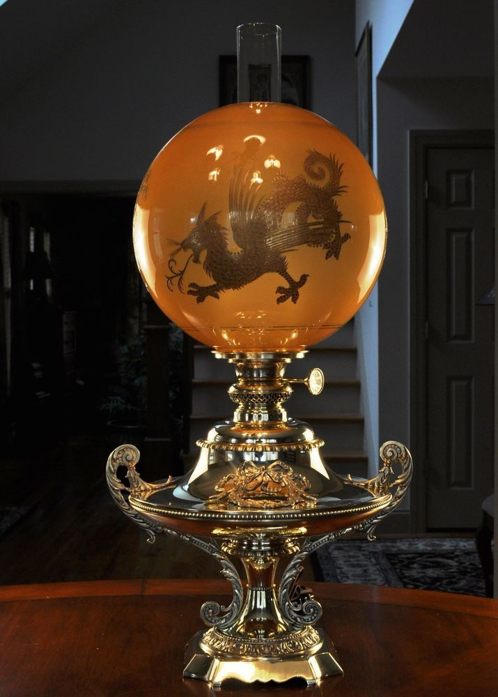 fancy design dragon lamps. Beautiful Jumbo Banquet Lamp with Rare Amber 12  Dragon Shade Globe Oil B H 216 best Tewksbury s Antiques Victorian Lighting images on Pinterest