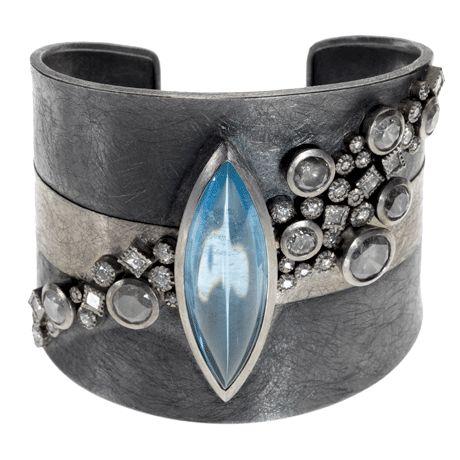 Palladium and sterling silver with patina, aquamarine (22.345ctw), gray brilliant cut diamonds (6.82ctw), white princess cut diamonds (1.1ctw) and white brilliant cut diamonds (1.195ctw)